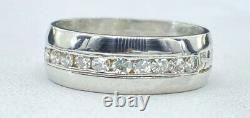 Antique NATURAL DIAMOND band ring SOLID PLATINUM (6 mm wide size 5.5)
