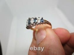 Blue Sapphire and Marquise Round Diamond Ladies Band 14k Size 7.5 Ring Estate