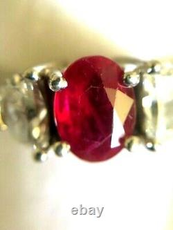 ESTATE 1.04 Oval RUBY Two. 35 Diamond 3 STONE Platinum CLASSIC RING