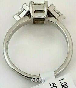 ESTATE 3 Stone Engagement Ring with 1.02ct Radiant cut diamond in center & 2 dia