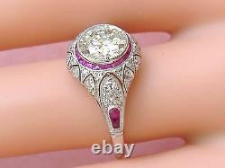 ESTATE ART DECO 1.34ct DIAMOND with RUBY HALO PLATINUM ENGAGEMENT COCKTAIL RING