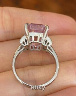 Estate 12.51 cts. Kunzite and Diamond Bow Cocktail Ring in Platinum - HM2220SS