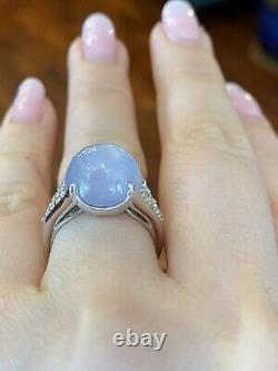 Estate 12.90 cts Star Sapphire and Diamond Ring in Platinum - HM2190SS
