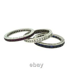 Estate 1950s Cartier Ruby, Diamond, and Sapphire Set of Three Rings