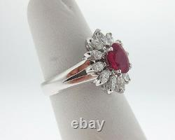 Estate 2.35cts Natural Ruby Diamonds Solid Platinum PT950 Ring Fine Jewelry