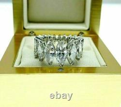 Estate 5.62 Carats t. W. Marquise Diamond Eternity Anniversary Ring D F Color