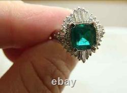 Estate AAAA+ Quality Natural Colombian Emerald & Diamond Platinum Ring