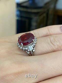 Estate Deep Red Oval Rubellite 5.90 ct and Diamond Ring in Platinum HM2172S2