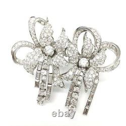Estate Platinum 12ct VS/SI-G Diamond Double Flower Brooch Pin 35.1gm (18666)