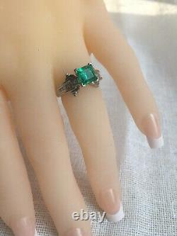 Estate Platinum Natural AAA+ Colombian Emerald & Diamonds Solitaire Ring Size 5