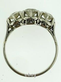 Estate Platinum Old Mine Cut 3 Diamonds Engagement Ring 1.50 Carats Total Weight