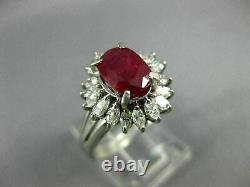 Estate Wide 1.72ct Diamond & Aaa Ruby Platinum 3d Oval Flower Engagement Ring
