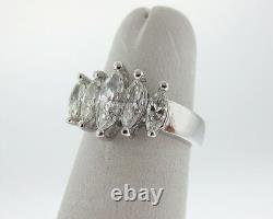 Fine Estate 1.40cts Genuine Diamonds Marquise Solid Platinum Ring Heavy Band