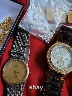 Jewelry lot Gold rings, necklaces, coins, Silver jewlry, watches, real diamonds