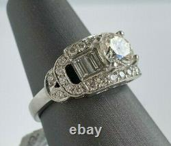 Mid-Century ESTATE Engagement Ring with 2 carat + total weight in real diamonds