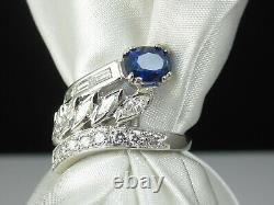 Sapphire Diamond Ring Platinum Estate Fine Jewelry Bypass Marquise Oval Baguette