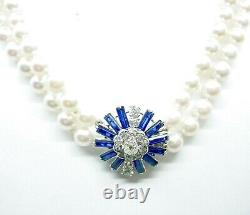 Stunning French Platinum Pearl 1.40 Ct. Diamond Double Strand Necklace Choker