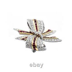TIFFANY&CO. Estate Diamond And Ruby Bow Brooch In 18k Yellow Gold & Platinum 13g