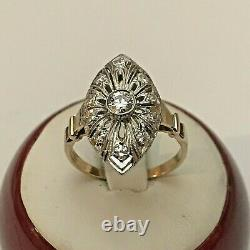 Vintage 14k Yellow Gold with Platinum Top. 48 Ct Tw Diamond Ring Size 7, 3.4 Gr
