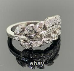 Vintage Diamond Leaf Platinum Band Ring 1.70 CT 6.3 grams Can Be Sized (5.5)