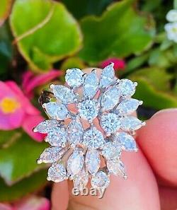 Vintage Estate 14k Heavy 3.78ct Marquise Diamond Cluster Ring
