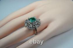 Vintage Estate Green Emerald and Diamond Ring 4.75 TCW Size 7.25 Plat. & 18KWG