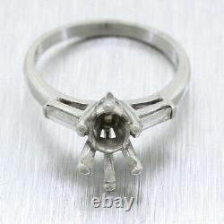 Vintage Solid Platinum 0.75ct Oval Stone & 0.15ctw Diamond Accent Ring Mounting